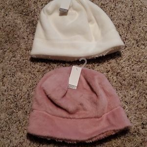 Pink white ivory  fleece beanie hats Time and Tru
